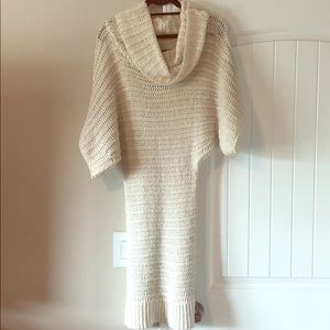 Winter white wool knitted sweater dress - Arden B